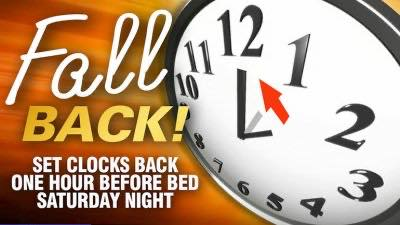 Don't forget to set your clocks back one hour!