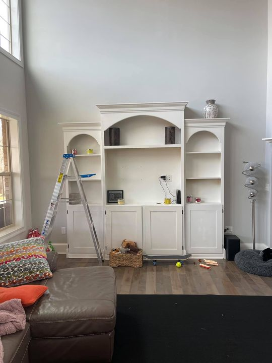 Before and after pictures of a TV cabinet, I did a makeover of.Decor & More 859-361-3493